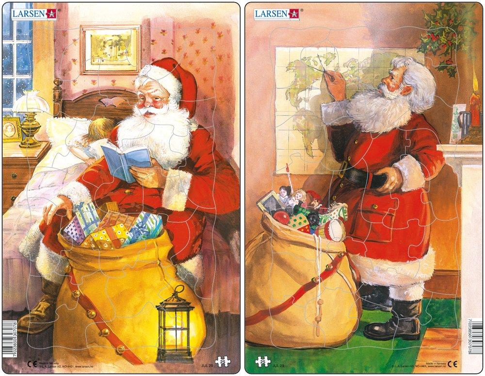 Mikuláš ( Santa Claus ) číta rozprávku dieťaťu, pred sebou má vianočné darčeky, hračky pre deti – Obrázkové puzzle – JEDNO z 2 puzzle na obrázku VĽAVO