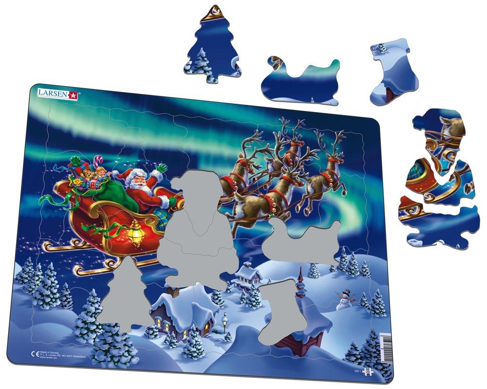 Mikuláš ( Santa Claus ) ide v saniach nad zasneženou krajinou a vezie vianočné darčeky, detské hračky a deti, – Obrázkové puzzle