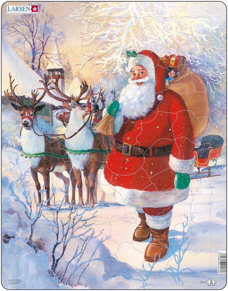 Mikuláš ( Santa Claus ) stojí na snehu pri soboch a saniach, na chrbte má vianočné darčeky, hračky pre deti – Obrázkové puzzle