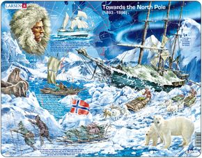 Dejepis – Cesta, expedícia na severný pól loďou Fram, vedec Fridtjof Nansen – Náučné obrázkové puzzle