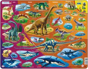 Prírodopis – Historický vývoj zvierat, dinosaury, praveké jaštery, krieda, jura, trias, druhohory, treťohory – Náučné obrázkové puzzle