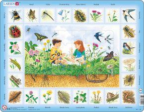 Prírodoveda – Deti na lúke a lúčne zvieratá a kvety, lienka, čmeliak, lastovička, vrabec – Náučné obrázkové puzzle