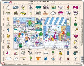 Angličtina, slovíčka – 02. Kaviareň s vonkajším posedením na námestí – Náučné puzzle, anglické slovíčka