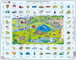 Angličtina, slovíčka – 04. Deti na výlete v prírode, piknik, stanovanie – Náučné puzzle, anglické slovíčka