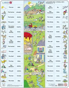 Angličtina, slovíčka – 07. Práca na farme domáce zvieratá (so slovesami) – Náučné puzzle, anglické slovíčka
