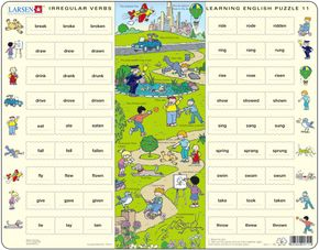 Angličtina, slovíčka – 11. Deti sa hrajú v parku (nepravidelné slovesá 1) – Náučné puzzle, anglické slovíčka