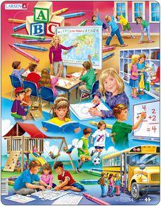 Deti sa učia v škole, deti sa hrajú na detskom ihrisku, deti cvičia, deti nastupujú do autobusu – Obrázkové puzzle