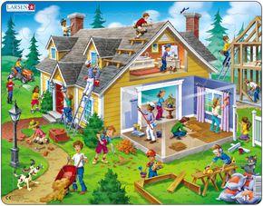 Stavba domu, činnosti a práce na stavbe, dokončovanie stavby domu, na záhrade okolo domu – Obrázkové puzzle