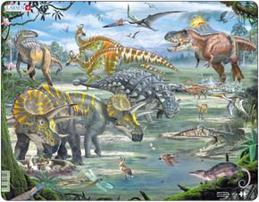 Zvieratá historické – Dinosaury, praveké jaštery, tyranosaurus rex, pterodaktyl, triceratops – Obrázkové puzzle