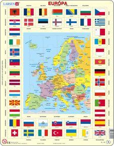 Mapy – Európa, politická mapa s krajinami, štátnymi vlajkami a hlavnými mestami krajín – Zemepis, zemepisné puzzle