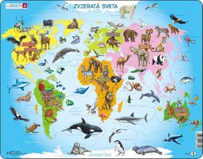 Mapy – Svet, mapa sveta a kontinentov s typickými zvieratami pre každý kontinent – Zemepis, zemepisné puzzle