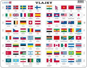 Mapy – Vlajky vybraných 80 štátov sveta s hlavnými mestami – Zemepis, zemepisné puzzle