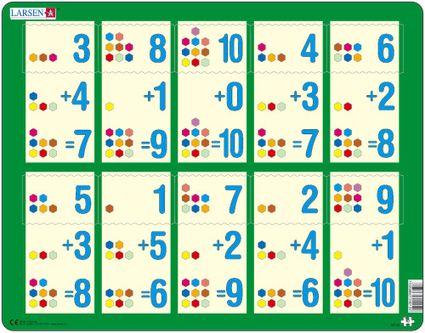 Matematika – Sčítanie čísel od 1 do 10 – farebné šesťuholníčky – Matematické puzzle