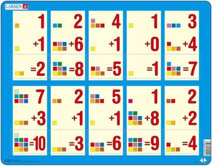 Matematika – Sčítanie čísel od 1 do 10 – farebné štvorčeky – Matematické puzzle