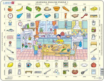 Angličtina, slovíčka – 01. Deti v kuchyni pripravujú jedlo – Náučné puzzle, anglické slovíčka