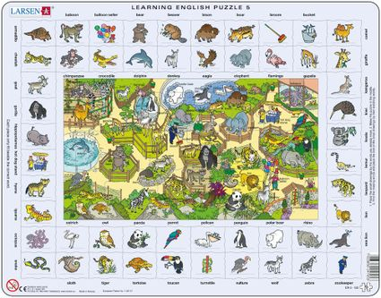 Angličtina, slovíčka – 05. Deti v Zoo, zvieratá v zoologickej záhrade – Náučné puzzle, anglické slovíčka