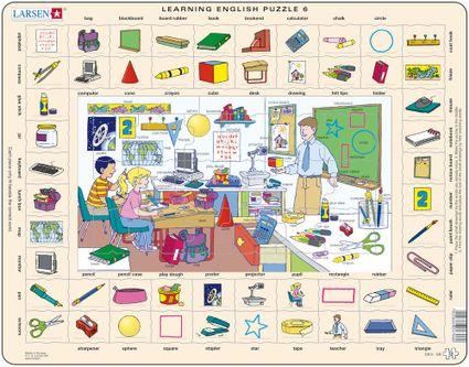 Angličtina, slovíčka – 06. Deti sa učia v škole, na hodine matematiky – Náučné puzzle, anglické slovíčka