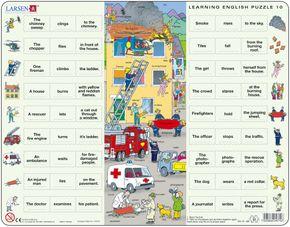 Angličtina, slovíčka – 10. Hasiči hasia horiaci bytový dom (s dlhšími vetami) – Náučné puzzle, anglické slovíčka