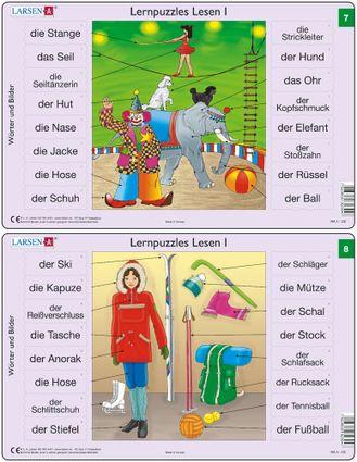 Predáva sa len v balíku 10 ks puzzle Nemčina 01 - 10 / Nemčina  07 – Nemecké slovíčka, V cirkuse, klaun, šašo, slon, psák, akrobatka  – Náučné puzzle