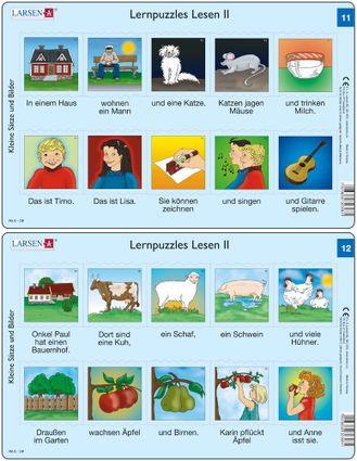 Predáva sa len v balíku 10 ks puzzle Nemčina 11 - 20 / Nemčina  11 – dve vety v obrázkoch – dom, mačka, myš, deti spievajú a hrajú na gitare – Náučné