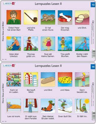 Predáva sa len v balíku 10 ks puzzle Nemčina 11 - 20 / Nemčina  13 – dve vety v obrázkoch – pes, kosť, rodina, rodičia a deti pracujú na záhrade – Náu