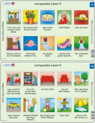 Predáva sa len v balíku 10 ks puzzle Nemčina 11 - 20 / Nemčina  17 – dve vety v obrázkoch – detský bazár, detské hračky, koláč, obliekanie šiat – Náuč
