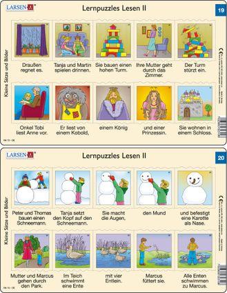 Predáva sa len v balíku 10 ks puzzle Nemčina 11 - 20 / Nemčina  20 – dve vety v obrázkoch – stavanie snehuliaka, výlet pri jazero, kŕmenie husí – Náuč