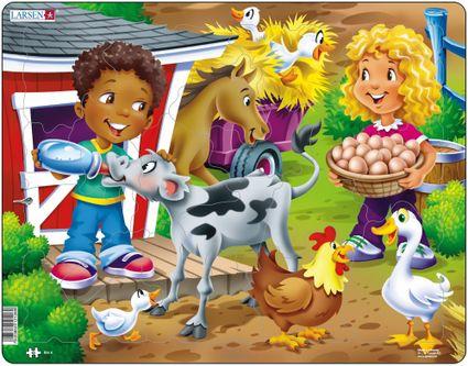 Deti na farme, na statku – Teliatko, koník, húsky, vajíčka – Obrázkové puzzle
