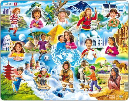 Deti z celého sveta, deti z vybraných 15 krajín sveta so slávnymi stavbami, známymi symbolmi krajín – Obrázkové puzzle