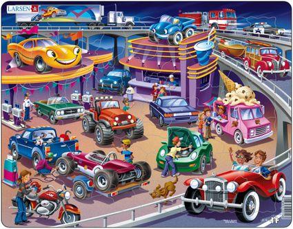 Dopravné prostriedky – Autá, osobné autá, nákladné autá, čerpacia stanica, zmrzlina, bufet – Obrázkové puzzle