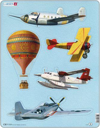 Dopravné prostriedky – Historické lietadlá a teplovzdušný balón – 5 malých puzzle v jednom – Obrázkové puzzle