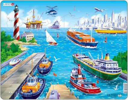 Dopravné prostriedky – Morský prístav, lode, tanker, náladná loď, motorový čln, jachta, lietadlá – Obrázkové puzzle