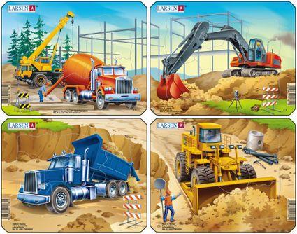 Stavebné stroje, autá – Zhŕňač, nakladač – Obrázkové puzzle – JEDNO zo 4 puzzle na obrázku VPRAVO DOLE
