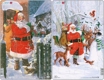 Mikuláš ( Santa Claus ) stojí na snehu pred domom,na chrbte má vianočné darčeky, hračky pre deti– Obrázkové puzzle – JEDNO z 2 puzzle na obrázku VĽAVO