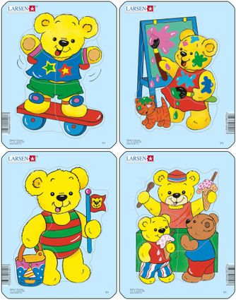 Rozprávky – plyšový medvedík maľuje – Obrázkové puzzle – JEDNO zo 4 puzzle na obrázku VPRAVO HORE