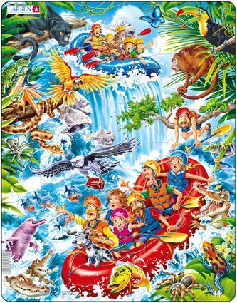 Rozprávky – Rafting v nafukovacom člne na divokej vode s vodopádmi v rieke Amazon – Obrázkové puzzle
