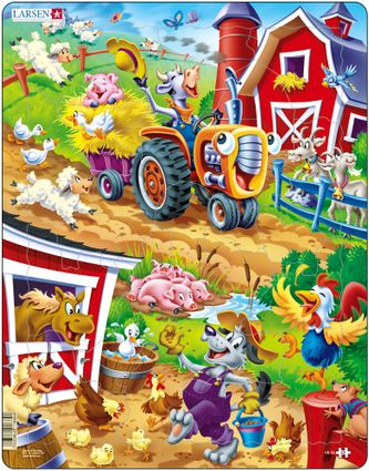 Rozprávky – Zvieratká na farme, na statku, koník, psíček, kravička, húsky, kozičky, ovečky – Obrázkové puzzle