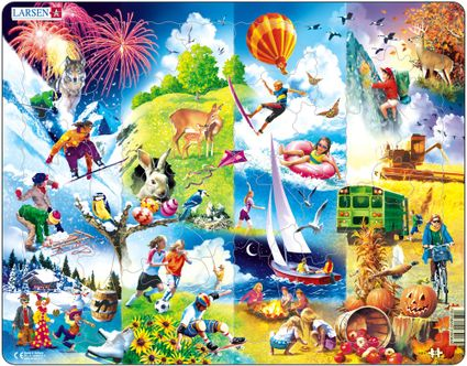 Štyri ročné obdobia, príroda a ľudské činnosti počas štyroch ročných období – Obrázkové puzzle