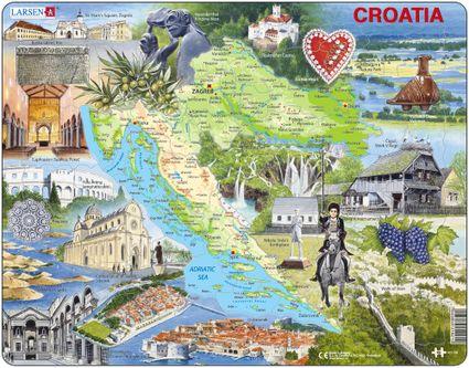 Turistické atrakcie – Chorvátsko, fyzická všeobecno zemepisná mapa s turistickými zaujímavosťami – Obrázkové puzzle