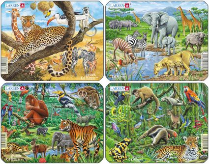 Zvieratá exotické – Džungľa, tropický dažďový prales, tigre, slony, jeleň, medveď, opice – Obrázkové puzzle – JEDNO zo 4 puzzle na obrázku VĽAVO DOLE