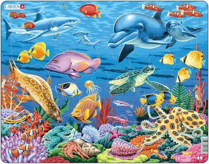 Zvieratá morské – Koralový útes, delfíny, žraloky, ryby, morský koník, korytnačka, chobotnica – Obrázkové puzzle
