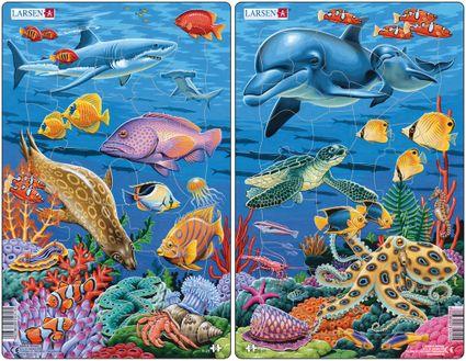 Zvieratá morské -  morský svet, koralový útes, delfíny, korytnačka, koník, ryby – Obrázkové puzzle – JEDNO z 2 puzzle na obrázku VPRAVO