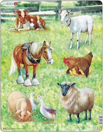 Zvieratká domáce – 6 malých obrázkov – koník, kravička, húsatká, kuriatka, ovečka, kozička – Obrázkové puzzle