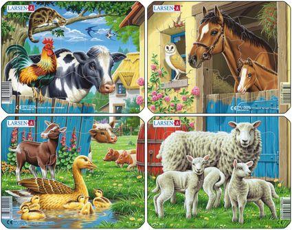 Zvieratká domáce – Húsky, kozička, prasiatka na dvore – Obrázkové puzzle – JEDNO zo 4 puzzle na obrázku VĽAVO DOLE