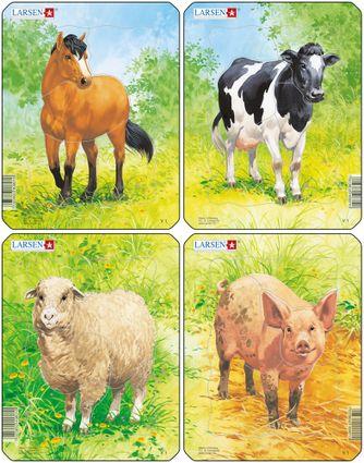 Zvieratká domáce – Ovečka na lúke, na tráve – Obrázkové puzzle – JEDNO zo 4 puzzle na obrázku VĽAVO DOLE