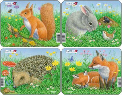 Zvieratká lesné – Líštičky na lúke v tráve, motýlik, kvety – Obrázkové puzzle – JEDNO zo 4 puzzle na obrázku VPRAVO DOLE