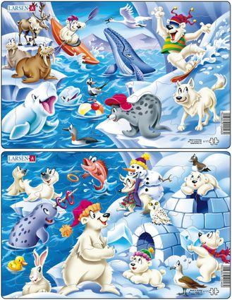 Zvieratká severské – Tuleň, veľryba, bieluhy, mrože, sob, vlk – Obrázkové puzzle – JEDNO z 2 puzzle na obrázku HORE