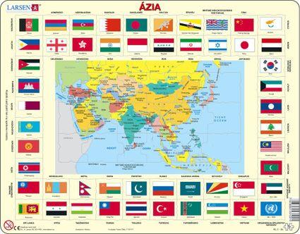 Mapy – Ázia, politická mapa s krajinami a štátnymi vlajkami – Zemepis, zemepisné puzzle
