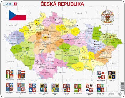 Mapy – Česká republika, politická mapa s krajmi, okresmi a znakmi, erbami krajov – Zemepis, zemepisné puzzle