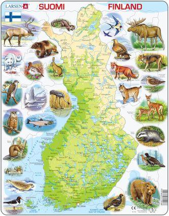 Mapy – Fínsko, fyzická všeobecno zemepisná mapa so zvieratami – Zemepis, zemepisné puzzle